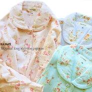 NEW!【送料無料】綿100%のニットガーゼを使用した上品な花柄のパジャマ。日本製ガーゼ生地を使用した睡眠時に快適な長袖長パンツ婦人寝間着レディース上下セット