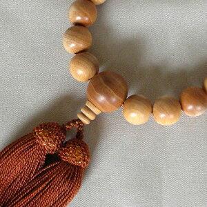 ◆男性用数珠・白檀(22玉)本絹頭房◆桐箱入り◆