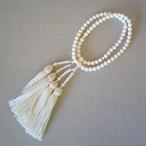 ■送料無料■女性用数珠(二輪)白本珊瑚(6.5mm玉)正絹白頭房【桐箱入り】【smtb-TK】