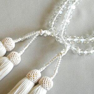 女性用数珠(二輪)本水晶(切子)正絹白頭房【桐箱入り】