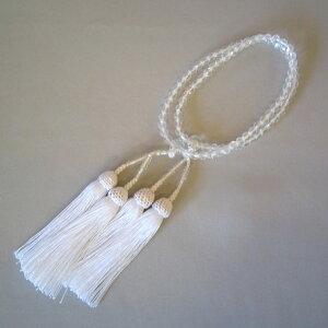 女性用数珠(二輪)舶来切子人絹白頭房【桐箱入り】