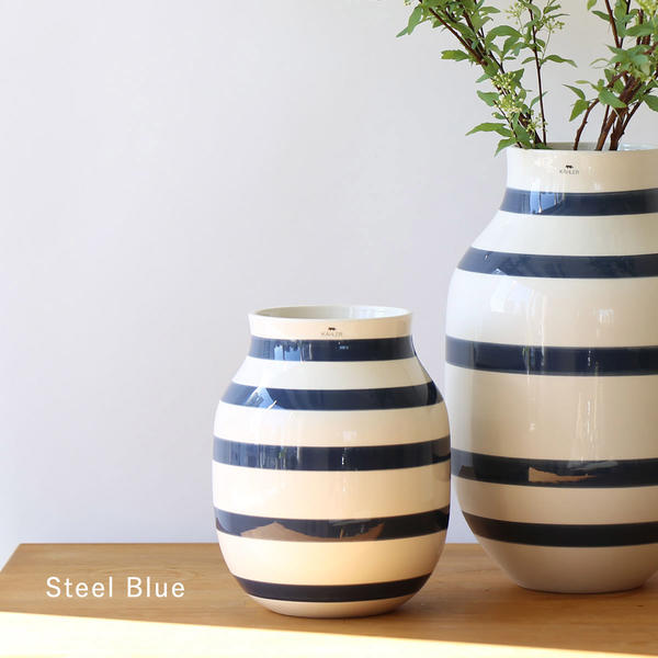 Kahler (ケーラー) オマジオ フラワーベース ミディアム ブラック/スチールブルー 花瓶 陶器 日本正規代理店品
