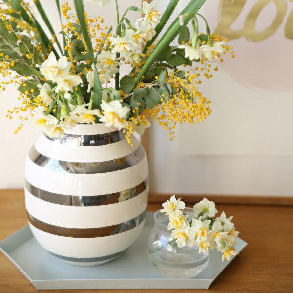 Kahler(ケーラー)オマジオ フラワーベースミディアム シルバー 花瓶 陶器日本正規代理店品