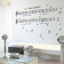 ウォールステッカー music is my life 音譜 ウォールス...