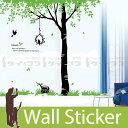 ウォールステッカー 背高い木と鳥 ウォールステッカー 北欧 ウォールス...