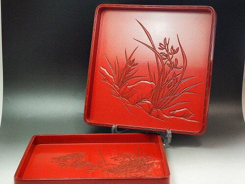 アート・美術品・骨董品・民芸品, 骨董品・アンティーク  0732 JAPAN japanese antique vintage tableware lacquerware tray