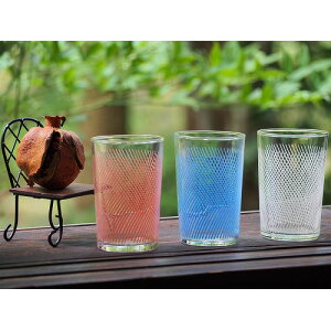 0158 Colorful and pop mesh pattern glass 3 pieces Showa / Glass / Miscellaneous / Cup / [Used] Vintage / Old folk house / Old folk tools / Antique /