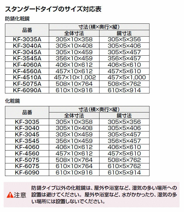 【LIXIL】INAX 化粧鏡(一般)スタンダートタイプ KF-3035 サイズ305×358 固定金具付き 浴室・洗面アクセサリー