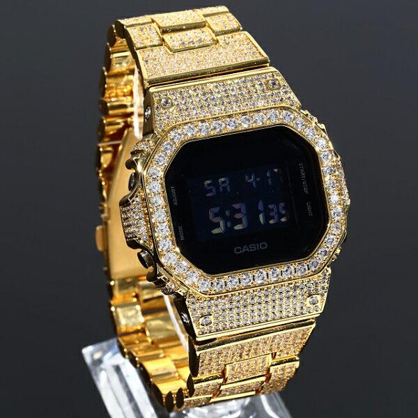 フルカスタムG-SHOCKDW5600SOLIDモデル極太22mmベルト18KゴールドCZダイヤ(キュービックジルコニア)ブラッ