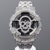 G-SHOCKフルカスタムGショックDW6900大粒CZダイヤベゼル(キュービックジルコニア)18Kゴールド【未使用品】【中古】
