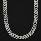 幅10mmx70cmマイアミキューバンチェーン14KWHITEGOLDCZダイヤ(キュービック・ジルコニア