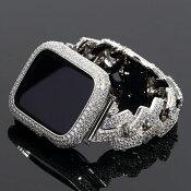 アップルウォッチフルカスタムコンプリートセットCZダイヤカバー&ベルトWHITEGOLD腕時計