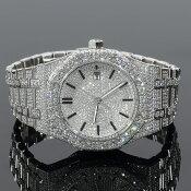全面フルCZダイヤラグジュアリー時計メンズデザイナーズウォッチ12ctセレブ時計MENS14KWHITEGOLD