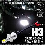 H3 ショート LED フォグランプ バルブ 80W 780LM 6000K CREE XB-D 無極性 2個 ハイブリッド車 マイナスコントロール車対応 アルミヒートシンク パーツ 汎用 爆光 純白 フォグライト フォグバルブ 送料無料 あす楽対応 _27282