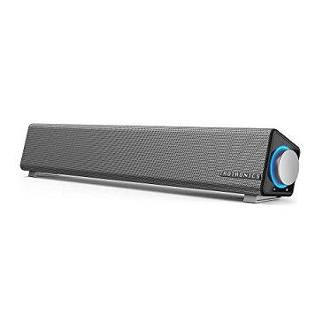 TaoTronics PC スピーカー ステレオ USB サウンドバー 小型 大音量 高音質 (マイク端子とヘッドホン端子付、高い互換性) USB給電 AUX