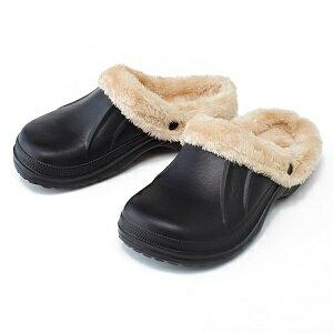 ボア脱着式サボサンダル ブラック (M・L・LL)ボ サンダル シューズ 靴 スリッパ つっかけ ベランダ 庭 クロックス CROCS クロッグ マンモス ボア ファー 取り外し可能 取り外せる 着脱式 脱着式 冬用 夏用