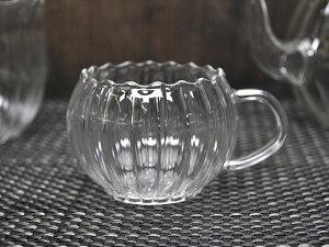 筋付 デミカップ [ 耐熱ガラス食器 コーヒーカップ マグカップ デミタスカップ かわいい おしゃれ 軽い 軽量 パンプキン型 ]