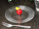 細溝ラインがお洒落なガラス食器イマージュ クープ皿 16cm [ プレート ケーキ皿 丸皿 ]