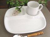 3つ仕切りモーニングプレート27cm[軽い陶器ランチプレートおしゃれ3仕切り白い仕切り皿カフェ食器新生活]