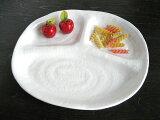 和モダンランチプレート白[3つ仕切り皿楕円型オーバル陶器カフェ食器]