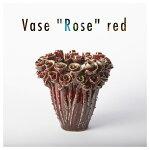 """DESPOTS/デスポッツおしゃれな花瓶""""Rose""""花束のようなフラワーベースレッド/Lサイズ(高さ25cm×幅25cm)/ローズ/インテリア/デザイン/北欧/大き目/オランダ/置物/陶器/天然/素材//独創性/赤/dp-rose-v25-r"""