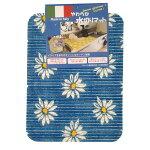 ☆イタリア製Carinoやわらか水切りマットブルーマーガレット柄キッチン小物おしゃれスタイリッシュ輸入☆