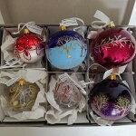 チェコORNEX製ガラスボール8cm3個&6cm3個計6個アソートセットかぶりなしクリスマスオーナメント飾り/装飾/キラキラ/ツリー/ヨーロッパ/本場