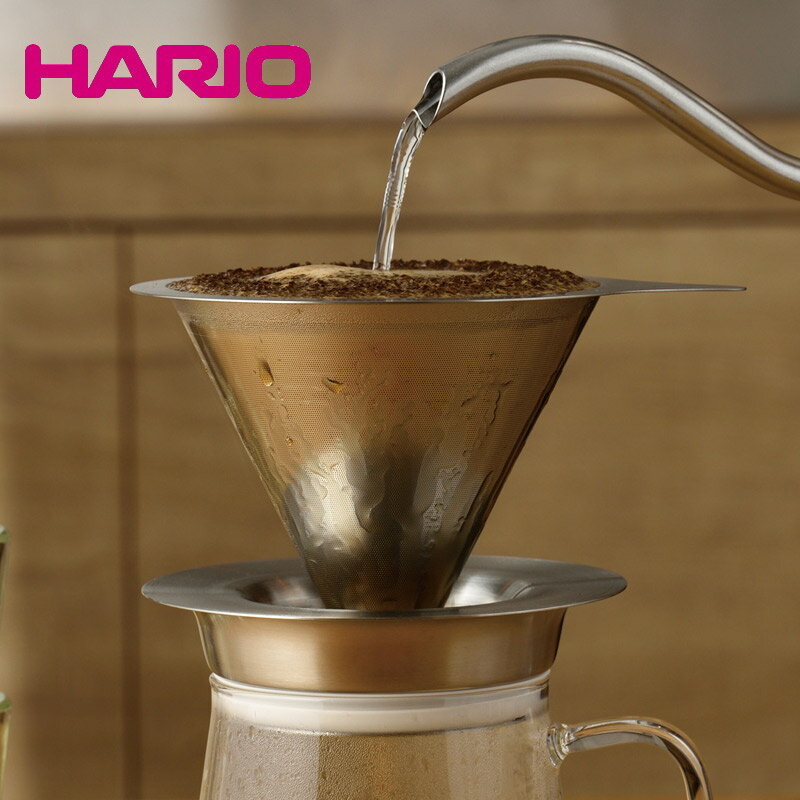 HARIO ハリオ ペーパーレス コーヒー ドリッパー 金属製 ダブルメッシュ メタルドリッパー 02 1〜4杯用 DMD-02-HSV 【食器洗浄機対応】