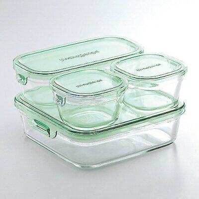 イワキ iwaki 耐熱 ガラス パック&レンジ 角型・長方形 グリーン 4点セット システムセット・ミニ PST-PRN4G2【ラッキシール対応】