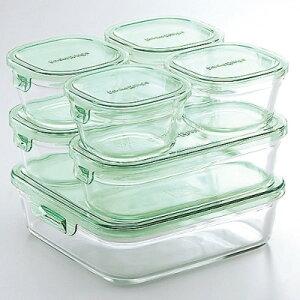 イワキ iwaki 耐熱ガラス パック&レンジ 角型 長方形 グリーン システム 7点セット …