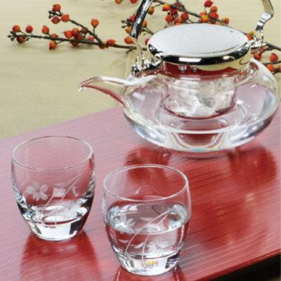 ハンドメイド 冷酒の器 盃2個と 耐熱ガラス 地炉利 の冷酒器セット 東洋佐々木 G604-M7...