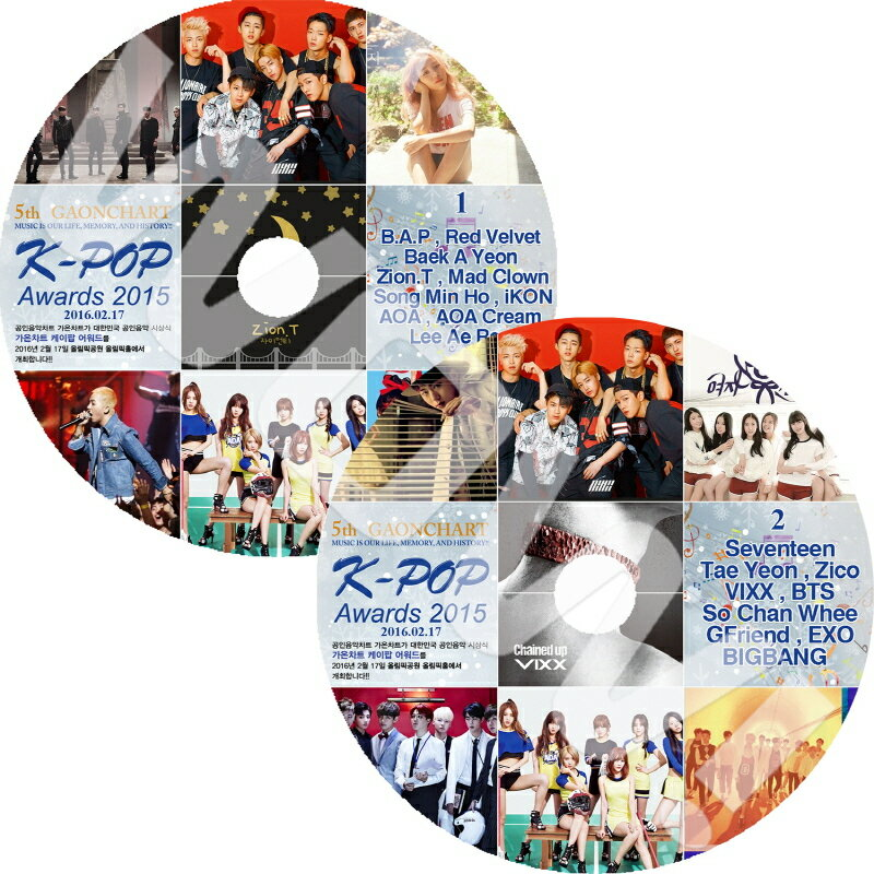 アジア・韓国, 韓国 K-POP DVD 5th GAONCHART K-pop Awards 1-2 2SET (2016.02.17) BIGBANG SEVENTEEN B.A.P IKON Red Velvet AOA VIXX EXO BTS TAEYEON GFRIEND DVD Awards DVD