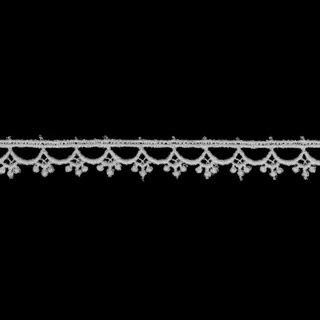 ケミカルレース生地 花 モチーフ 白切り売り 綿糸 白 約10mm幅国内生産なので安心ベビー、子供服、婦人衣料、手芸ブライダル、インテリア、和装小物、御朱印帳にも