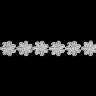 ケミカルレース生地 花 モチーフ オフホワイト 切り売り綿糸 オフ白 約13mm幅国内生産なので安心ベビー、子供服、婦人衣料、手芸ブライダル、インテリア、和装小物、御朱印帳にも