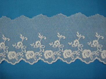 綿チュールレース 切り売りオフ白 約63mm幅ベビー、子供服、婦人衣料、手芸ブライダル、インテリア、和装小物に最適カワイイチュールレースです