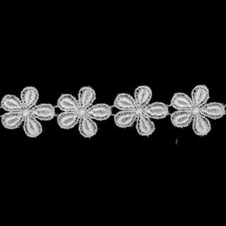 ケミカルレース生地 花 モチーフ オフホワイト 切り売り綿糸 オフ白 約19mm幅ベビー、子供服、婦人衣料、手芸ブライダル、インテリア、和装小物綿糸を使用した最高級ケミカルレースですカットしてモチーフにも使えます
