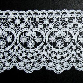 ケミカルレース生地 花 モチーフ オフホワイト 切り売り綿糸 オフ白 約65mm幅国内生産なので安心ベビー、子供服、婦人衣料、手芸ブライダル、インテリア、和装小物