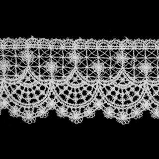 ケミカルレース生地 花 モチーフ オフホワイト 切り売り綿糸 オフ白 約45mm幅国内生産なので安心ベビー、子供服、婦人衣料、手芸ブライダル、インテリア、和装小物
