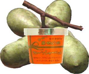 【果物の郷】 手作りシャーベット幻の果物! 木になるカスタードクリーム!ポポー シャーベット
