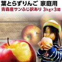 りんご 青森 葉とらず サンふじ ご家庭用 9kg 3kg×3箱 ちょっぴり 訳あり 送料無料 産直 ...