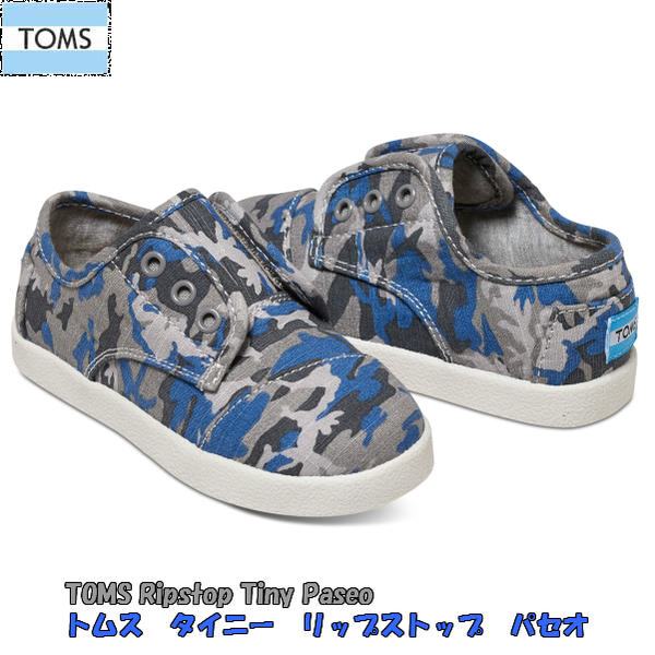 トムス TOMS CAMO COTTON RIPSTOP TINY TOMS PASEO SNEAKERS
