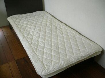 ウォシュロン ベッドパッド スモールシングル 85×200cm 日本製 生成り 綿35% ポリエステル65% 無地 4隅ゴム