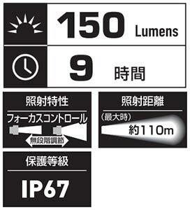 【送料無料!】ジェントス ジェントス閃330 SG-330明るさ150ルーメン。IP67等級