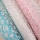【全3色】キラキララメ入り雪の結晶プリント入りオーガンジー(10cm単位)