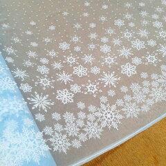 【ソフトチュール】NEW!ラメ入り☆雪の結晶プリント入りチュール(水色)