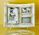 楽天「ゴールデンローズ ガラスフォトフレーム (3ウィンドー・ホワイト)」   (フォトフレーム 写真たて 写真立て フォトスタンド)(結婚祝い ウエディング ウェディング)[フォトフレーム通販]【絵のある暮らし】