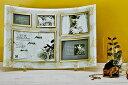 「ゴールデンローズ ガラスフォトフレーム (5ウィンドー・ホワイト)」   (フォトフレーム 写真たて 写真立て フォトスタンド)(結婚祝い ウエディング ウェディング)[フォトフレーム通販]