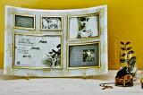 「ゴールデンローズ ガラスフォトフレーム (5ウィンドー・ホワイト)」   (フォトフレーム 写真たて 写真立て フォトスタンド)(結婚祝い ウエディング ウェディング)[フォトフレーム通販] 【絵のある暮らし】