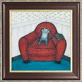 「キャット リーディング」ヘルガ サーマット【通信販売】(特殊ゲル加工アート・イヌ・ネコ・犬・猫・いぬ・ねこ[絵画通販])ねこの絵 絵 絵画 アート