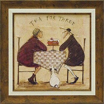 「3人でお茶」サムトフト・可愛い雰囲気の特殊ゲル加工アート[絵画通販]【壁掛けフック付き】【絵のある暮らし】